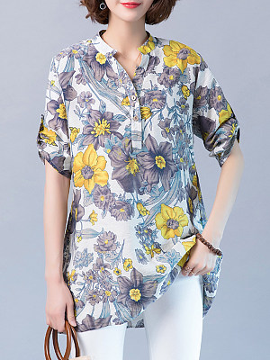 V Neck Floral Three-quarter Sleeve Linen Blouse, 11458011