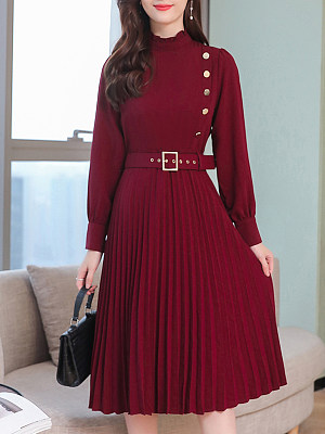 Women's Casual Solid Color Long Sleeve Dress