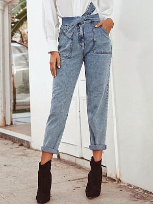 Streetwear Pure Color High waist Jeans фото