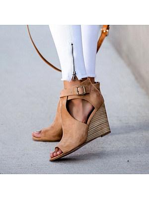 Women Casual Belt Buckle Hollow Out Wedge High Heels, 11008168