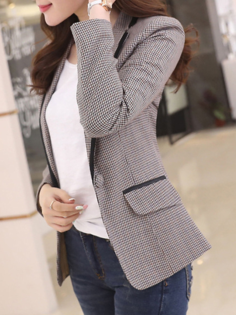 Casual Commuting Long Sleeve Plaid Blazer