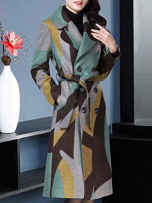 Ladies Fashion Lapel Contrast Color Double-Breasted Belt Woolen Coat, 10712843
