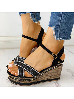 Flat-bottomed wedge-heeled sandals, 11231053