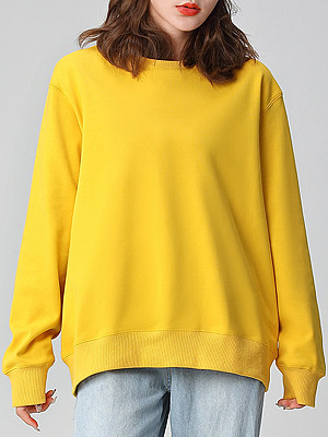 Spring and Autumn Fashion Solid Color Sweatshirt фото