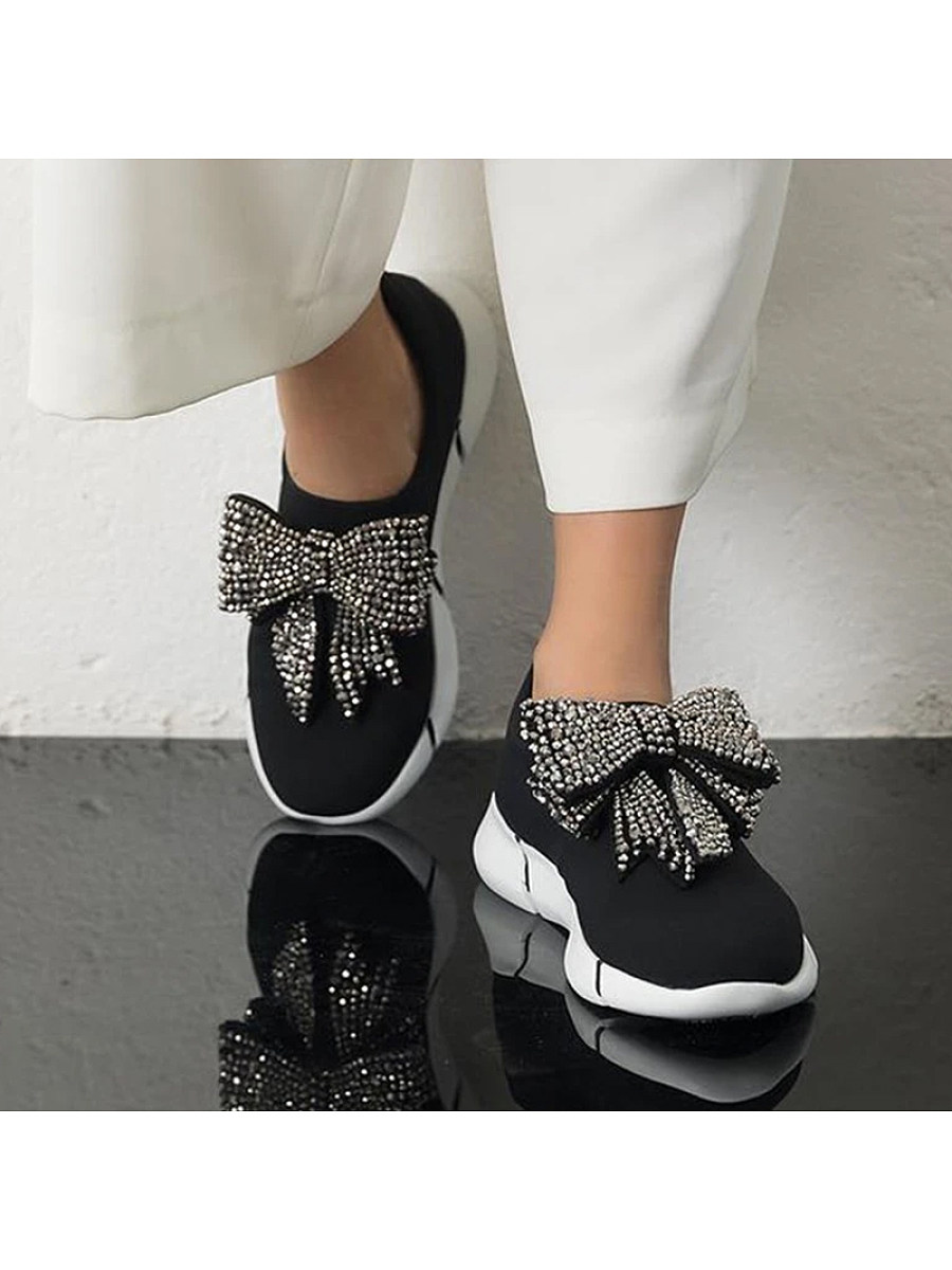 BerryLook Fashion Women Rhinestone Bow Breathable Sneakers