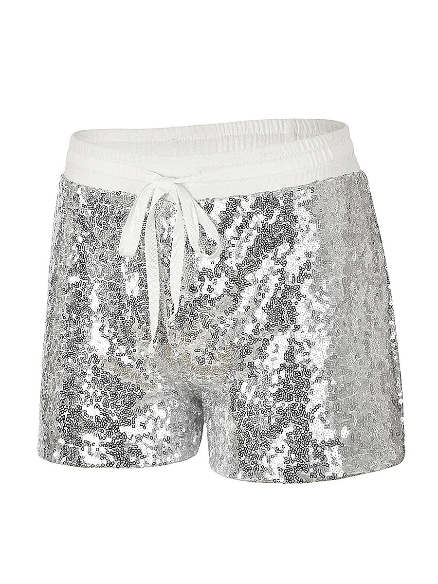 BerryLook Fashion sequin lace-up shorts