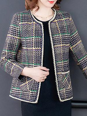 Fashion Round Neck Plaid Coat, 11364914