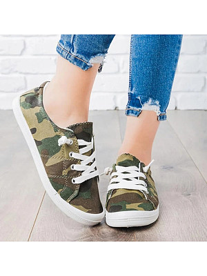 Women's Casual Camouflage Canvas Sneakers, 10713626
