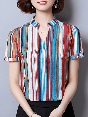 V Neck Striped Short Sleeve Blouse, 11300882
