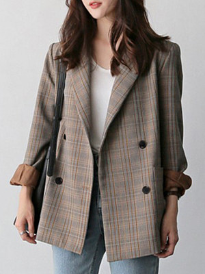 Women's Vintage Plaid Blazer gender:female, season:autumn,spring, collar:lapel collar, texture:cotton, pattern_type:tartan, sleeve_length:long sleeve, sleeve_type:regular sleeve, style:japan and south korea, collar_type:suit lapel collar, design:double breasted, dress_occasion:daily, bust:100,clothing length:73,shoulder width:40,