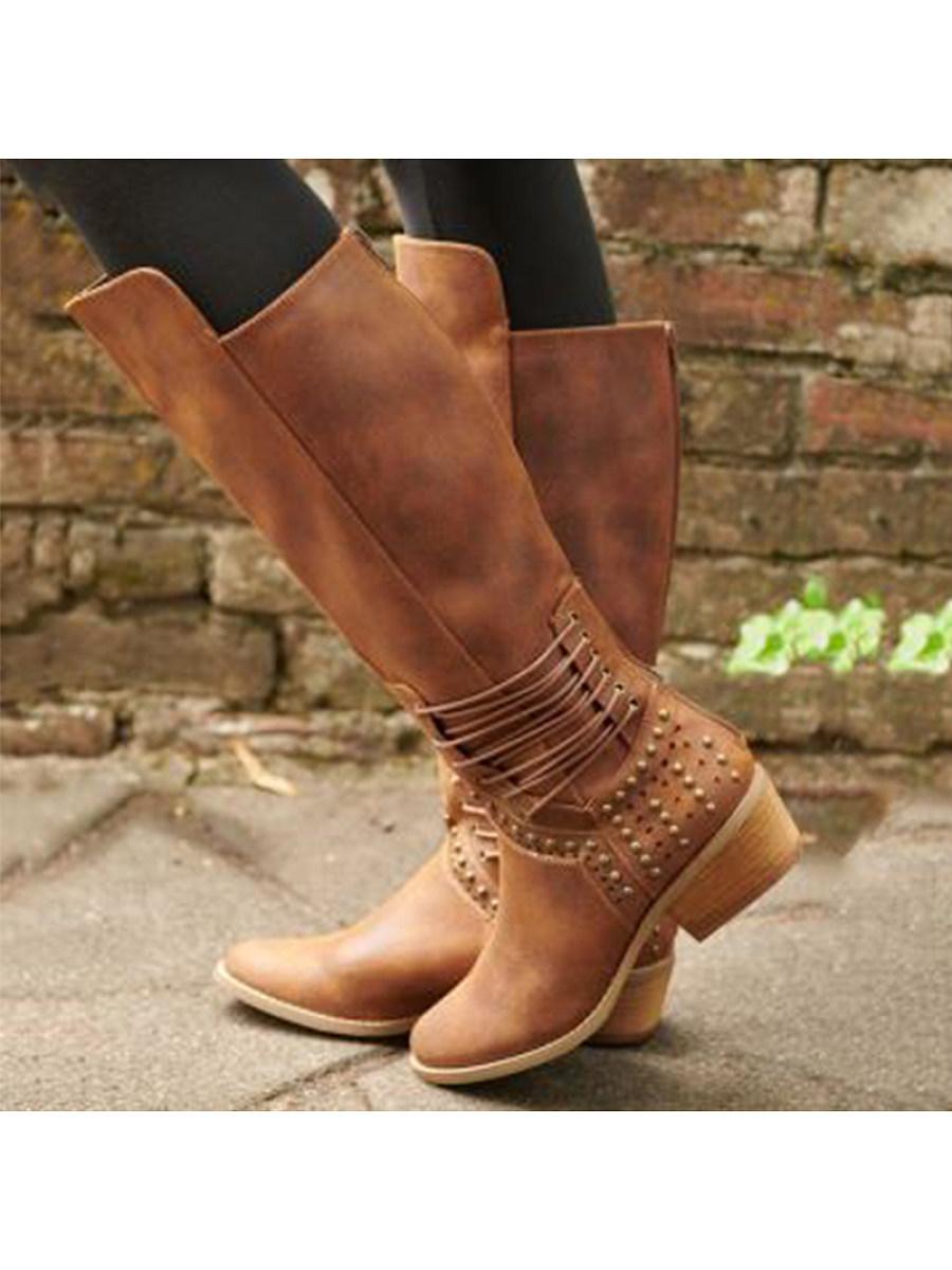 BerryLook Square heel low heel high boots