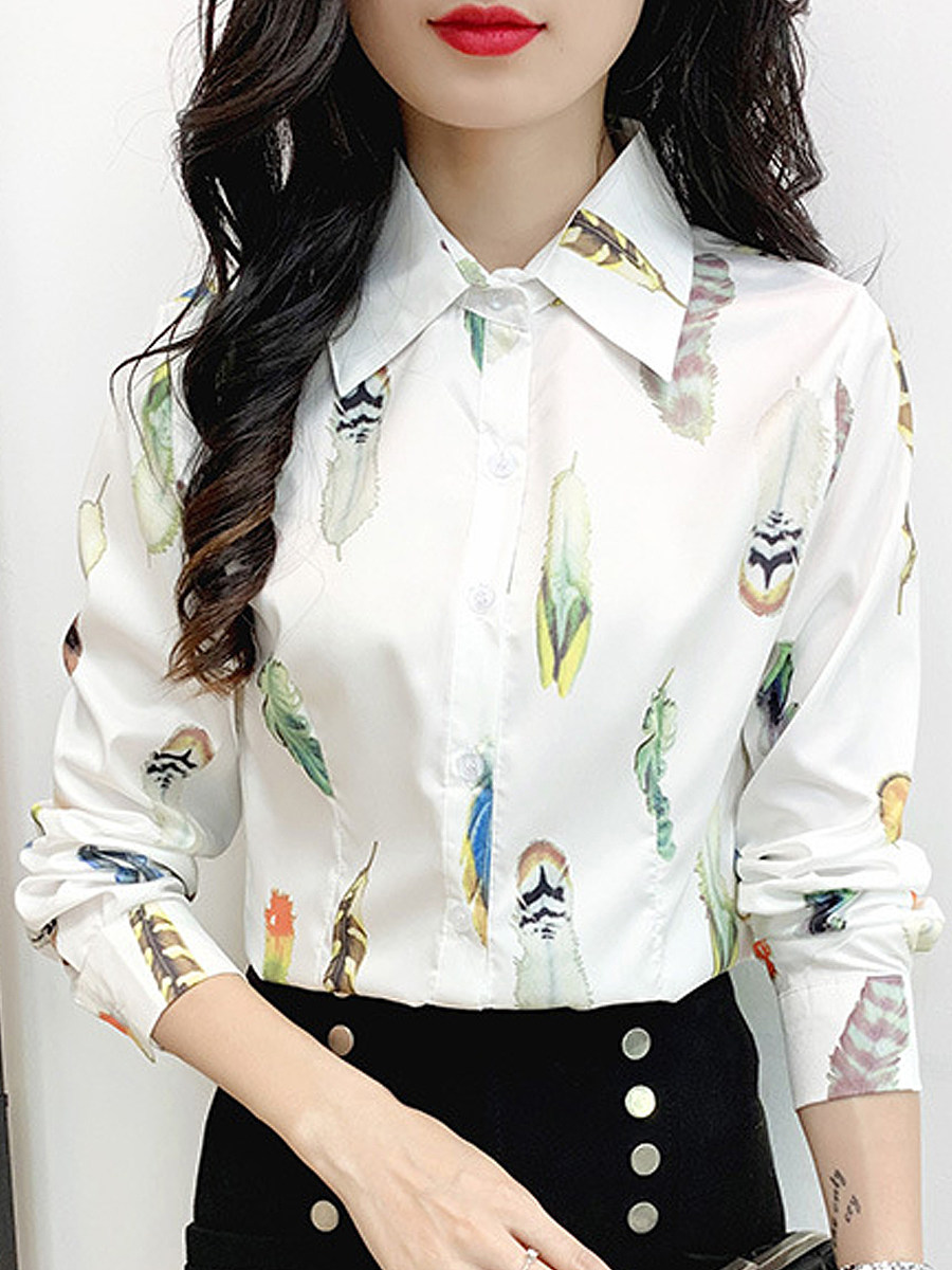 BerryLook Turn Down Collar Feather Printed Long Sleeve Blouse