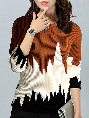 Round Neck Patchwork Color Block Knit Pullover, 10505961