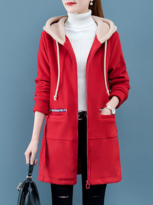 Women's Colorblock Hooded Coat gender:female, season:autumn,winter,spring, texture:polyester, sleeve_length:long sleeve, style:japan and south korea, collar_type:hat collar, dress_occasion:daily, bust:114,clothing length:80,shoulder width:44,
