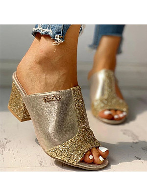 Fashion thick high-heeled color-block sequin fish mouth women's slippers, 11322744