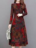 Image of Long Sleeve Printed Waist Dress