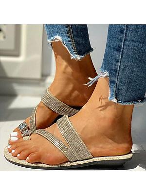 Stylish wild rhinestone toe low heel sandals