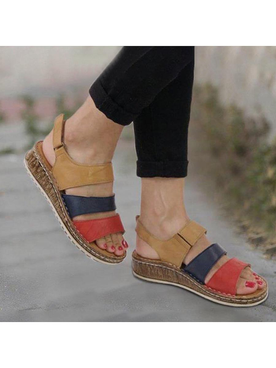 BerryLook Colorblock Buckled Open Toe Sandals