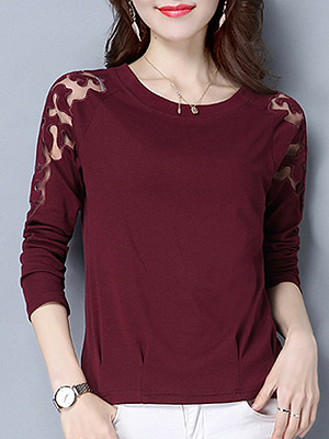 Round Neck Patchwork Lace Long Sleeve T-Shirt, 10714691