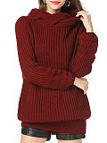 Image of Pullover Long-Sleeved Solid Color One-Piece Neck Sweater