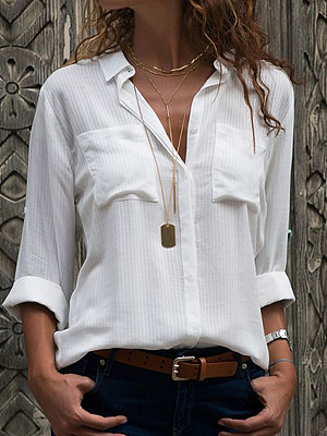 Turn Down Collar Plain Long Sleeve Blouse, 24485855