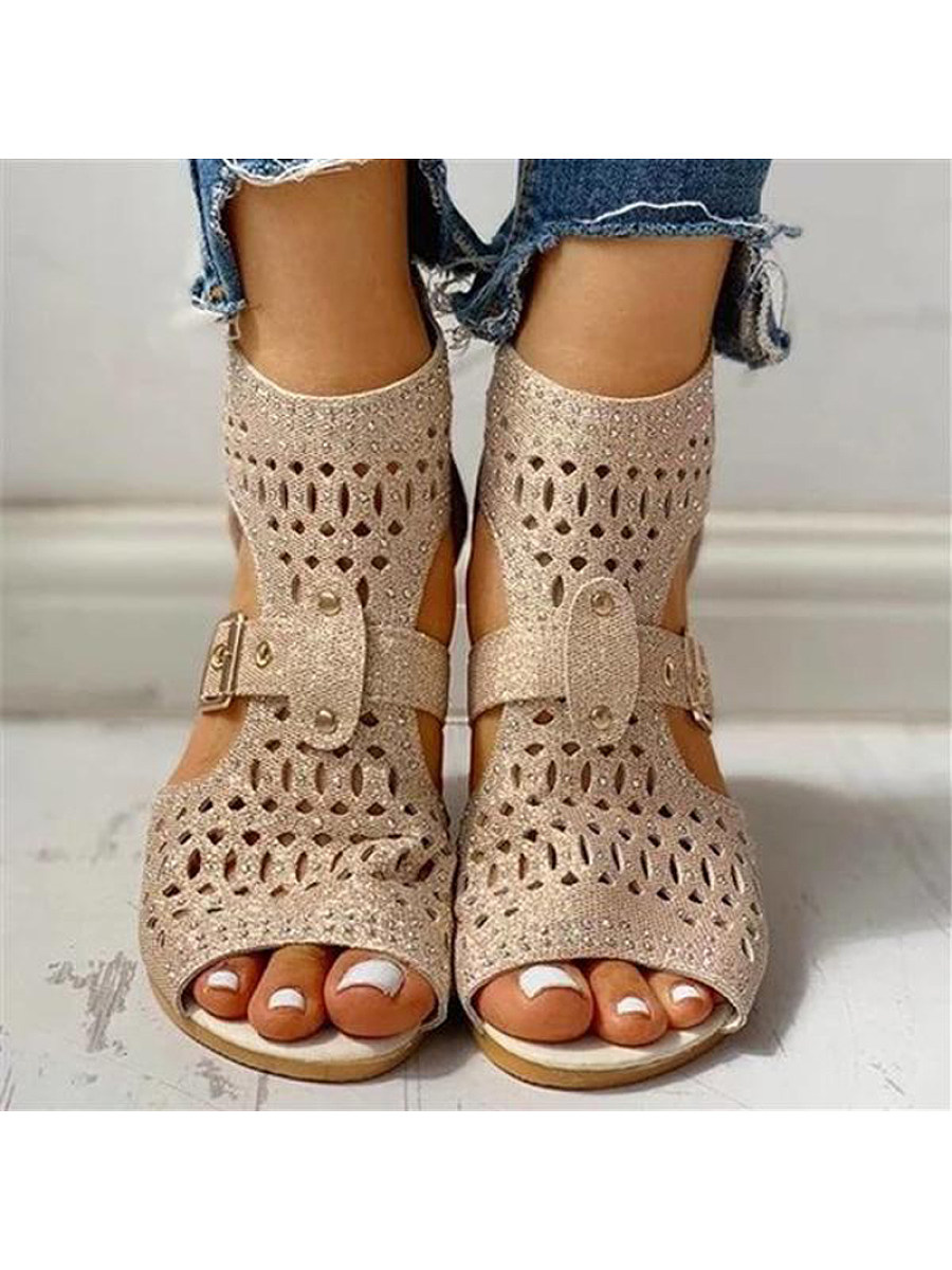 Low-heeled cutout fish sandals for women