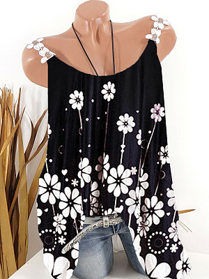 Floral Sleeveless T-shirt фото