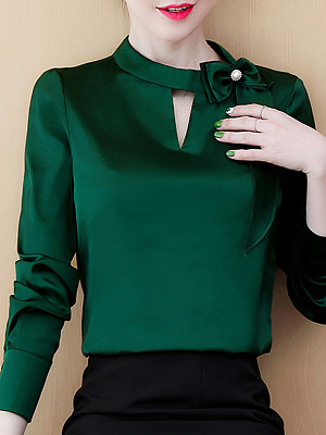 Band Collar Plain Bow Long Sleeve Blouse, 11259963