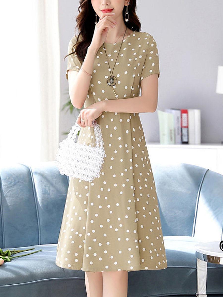 New Korean Polka Dot Print Skater Dress