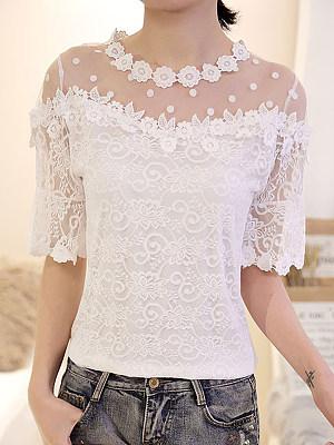 Round Neck Patchwork Lace Plain Short Sleeve Blouse, 23612869