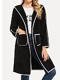 Image of Colorblock Long-Sleeved Mid-Length Cardigan Jacket Coats