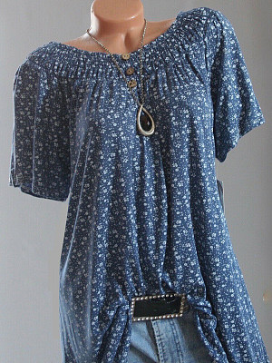 Open Shoulder Buttons Printed Short Sleeve T-shirt фото