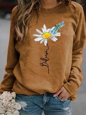 Round Neck Print Long Sleeve T-shirt фото