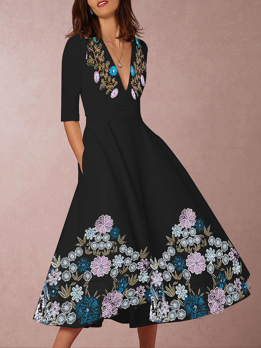 Fashion V-neck five-point sleeve print dress - from $30.95