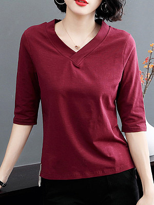 V Neck Plain Half Sleeve T-shirt, 11565877