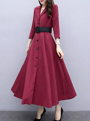 Elegant Women Striped Single-breasted Suit Collar Dress, 10590383