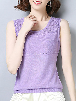 Round Neck Plain Sleeveless Knit T-shirt, 11398819