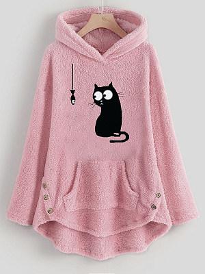 Long Sleeve Pocket Plush Cute Cat Embroidery Hoodie фото