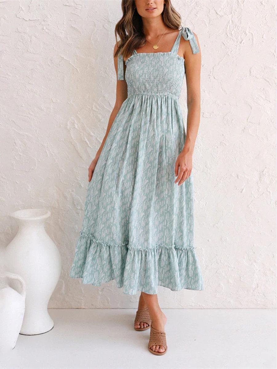 Fashion casual ruffled floral dress