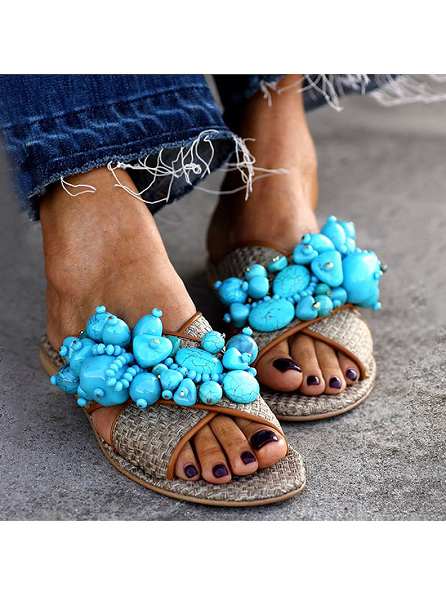 BerryLook Cute sweet beaded slippers with non-slip soft bottom