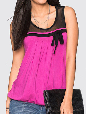 Round Neck Patchwork Bow Sleeveless T-shirt, 11383974