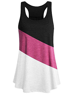 Round Neck Color Block Sleeveless T-shirt, 11503873