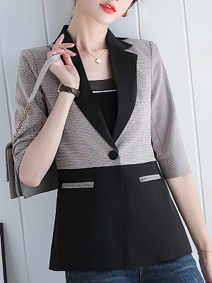 Temperament Colorblock Fold Collar Blazer фото