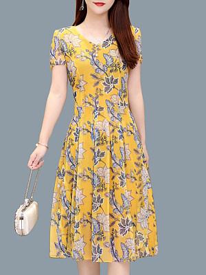 V-Neck Stylish Short Sleeve Printed Shift Dress, 23678426