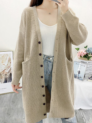 Long Plain Long Sleeve Knit Cardigan, 10483491