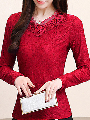 V Neck Patchwork Elegant Lace Long Sleeve Blouse, 10545543