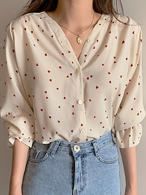 V Neck Printed Long Sleeve Blouse, 11314559