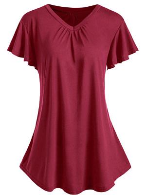 V Neck Plain Short Sleeve T-shirt, 11577971