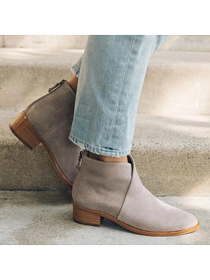 Women's Casual Low Heel Round Toe Low Boots, 10668767