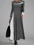 Image of Casual Polka Dot Round Neckline Long Sleeve Maxi Dress